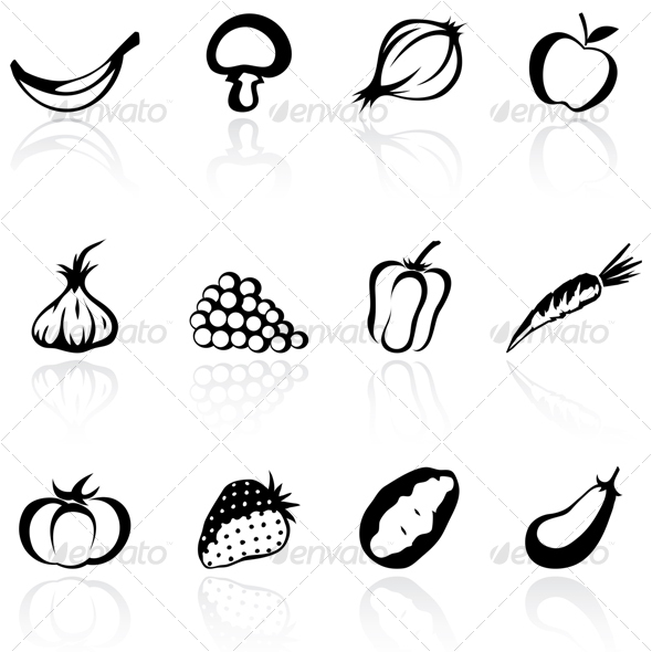GraphicRiver fruit and vegetable silhouettes 68427