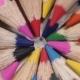 A Set Of Colored Pencils Rotates.