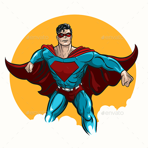 Standing Superhero Illustration