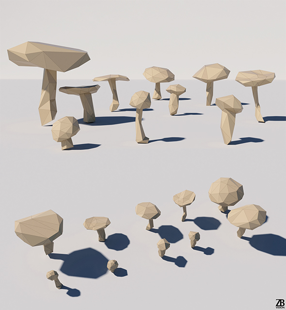 Lowpoly Mushrooms - 3DOcean Item for Sale