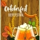 Octoberfest Festival Cartoon Design With Glass