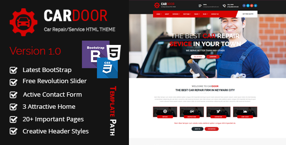 Car Door - Auto Mechanic & Car Repair Template
