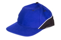 Blue baseball cap on white background, protection from sun