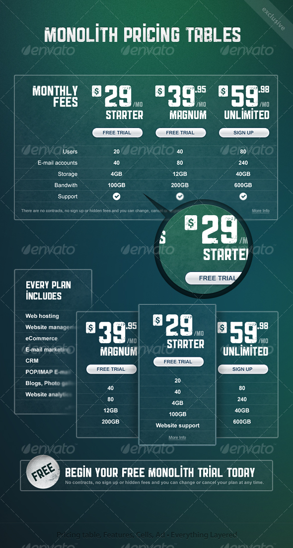 GraphicRiver Monolith Pricing Tables & Ads 68452