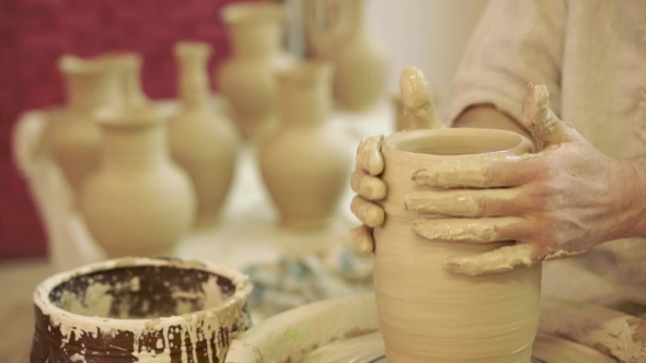 Download Potter Works. Crockery Creation Process In Pottery On Potters' Wheel nulled download