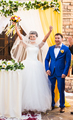 beautiful caucasian couple just married. Wedding ceremony