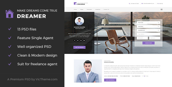 Dreamer - Single Property Agent PSD Template