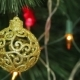 Openwork Gold Balls On a Christmas Tree