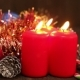 Christmas Decorations. Burning Candles And Toys