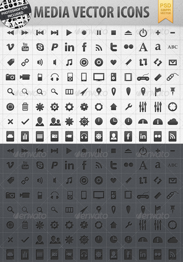Media Vector Shape Icons incl. CSH  - Web Icons