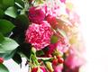 Close up of flower arrangement in wedding day