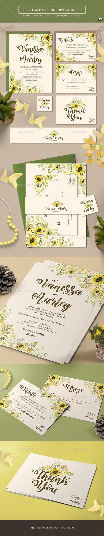 Sunflower Wedding Invitation Set