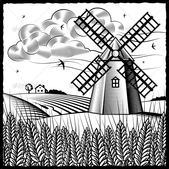 Line Drawing Windmill : Landscape with windmill black and white graphicriver
