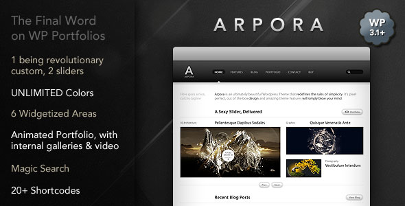 Arpora : Super Wordpress Portfolio & Blog