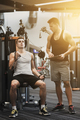 man exercising on gym machine