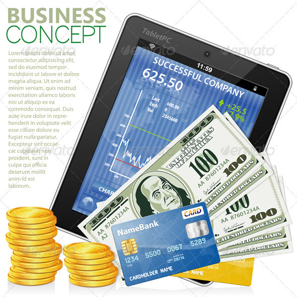 Financial Concept with Tablet PC Dollars Cards