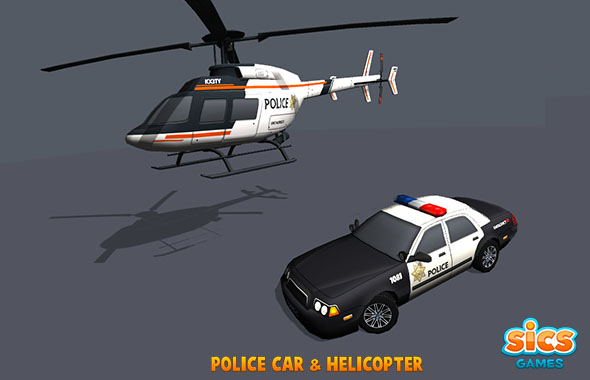 Police Car & Helicopter - 3DOcean Item for Sale