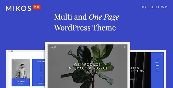 Фото Шаблон Wordpress платный  Mikos - Multi and One Page WordPress Theme — preview.  large preview