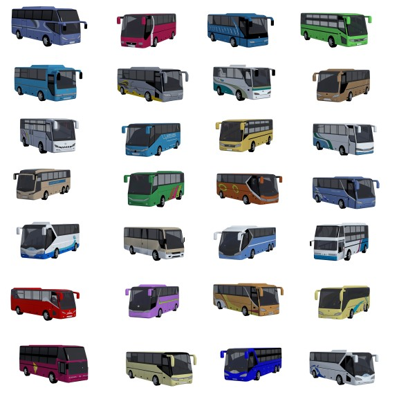 Low poly BUS set  - 3DOcean Item for Sale