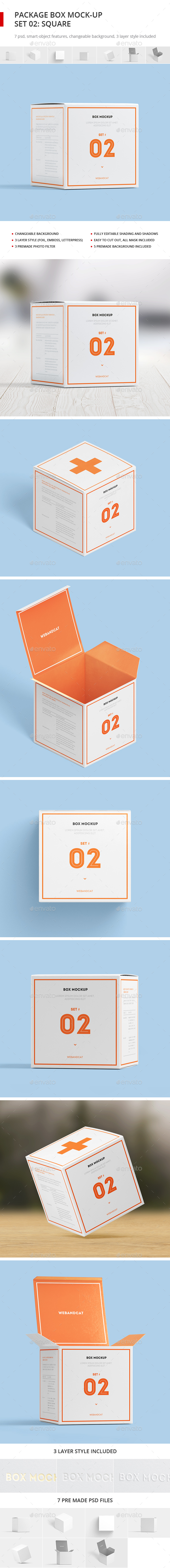 Package Box Mock-up, Set 2: Square Box