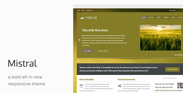 01 mistral preview.  large preview - Mistral - Responsive Joomla Template