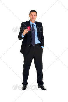 businessman with a red card direction