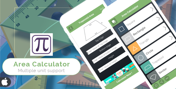 Area Calculator for iOS - Full Application with PSD - CodeCanyon Item for Sale
