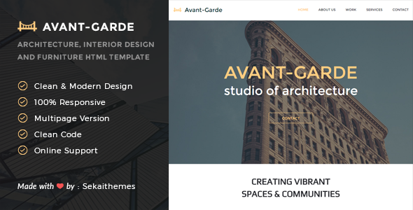 Avant-Garde - Architecture, Interior design & Furniture HTML Template