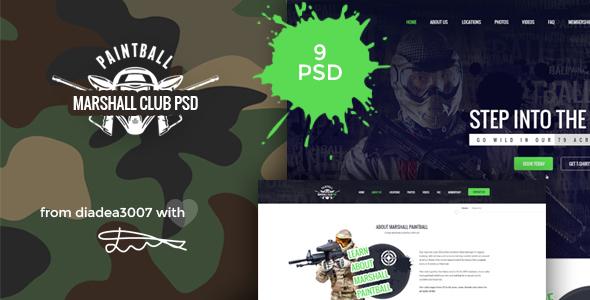 Marshall - Paintball Club PSD Template