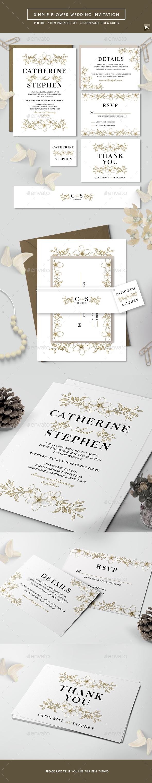 Simple Flower Wedding Invitation