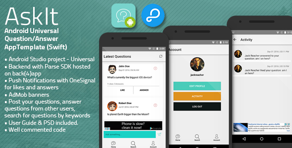Download AskIt | Android Universal Questions/Answers App Template nulled download