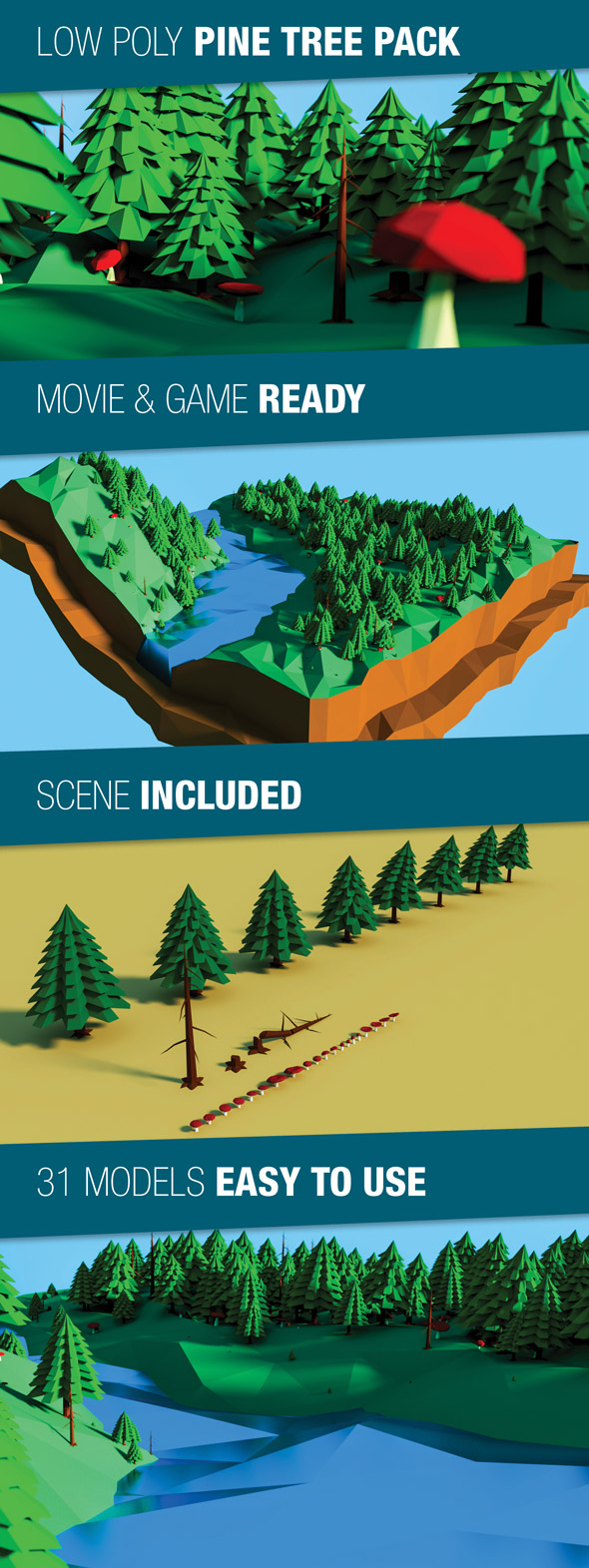 3DOcean Low Poly Pine Trees Pack 17745440