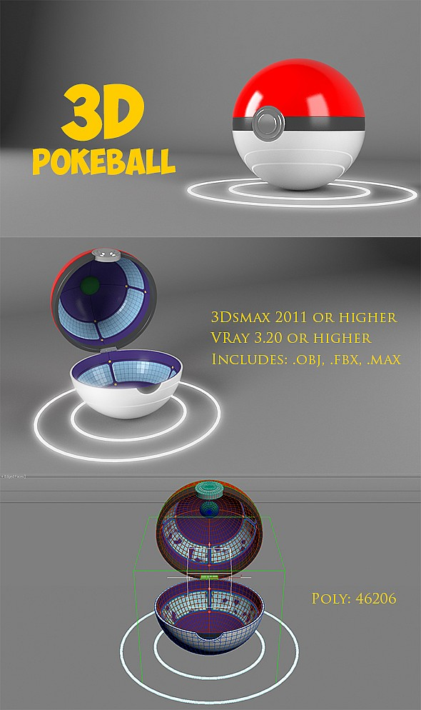 3D Pokeball - 3DOcean Item for Sale