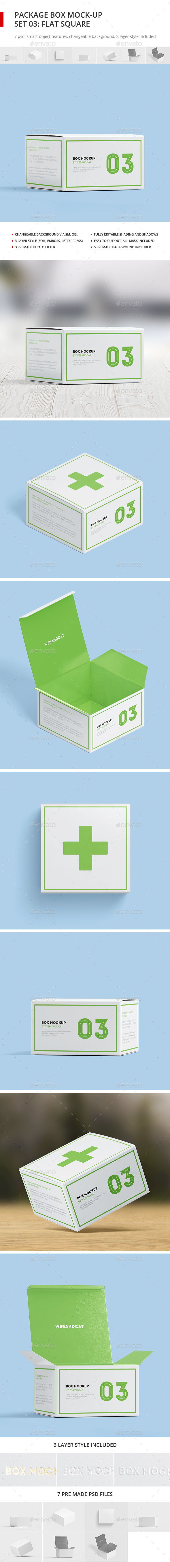 Package Box Mock-up, Set 3: Flat Square Box