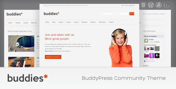 ThemeForest Buddies WordPress & BuddyPress Community Theme 1761841