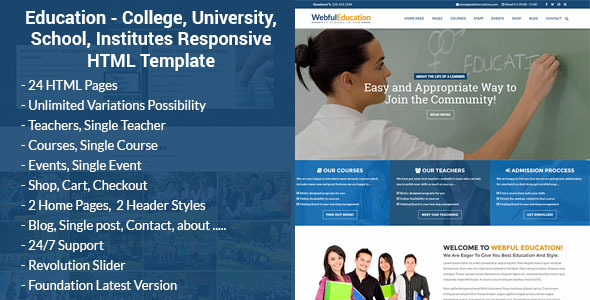 Education - College, University, School, Institutes Responsive HTML Template
