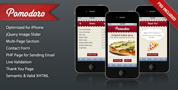 ThemeForest Pomodoro iPhone Landing Page 200756