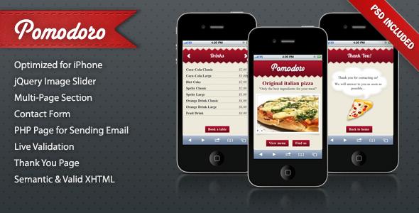 Pomodoro iPhone Landing Page