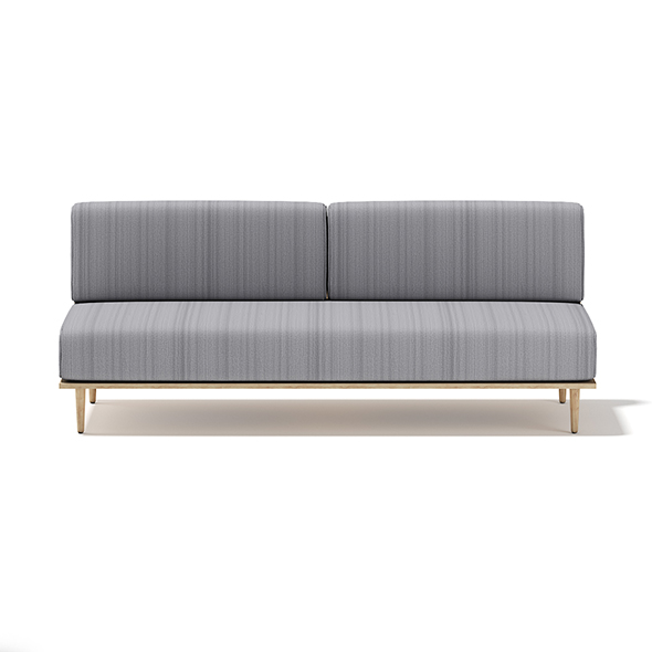 Grey Sofa with Wooden Frame - 3DOcean Item for Sale