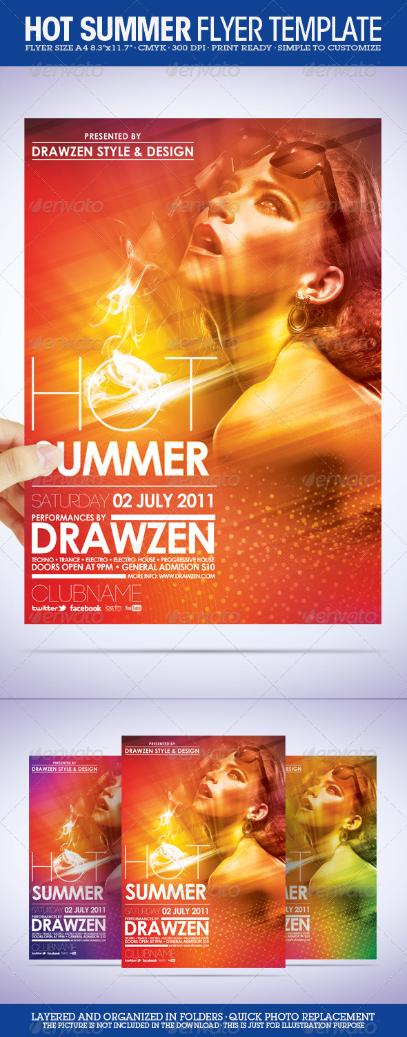 Hot Summer Flyer - Clubs & Parties Events