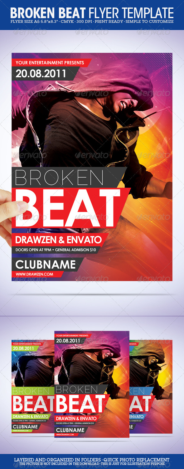 GraphicRiver Broken Beat Party Flyer 477250