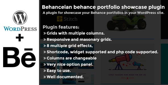 Behanceian behance portfolio showcase plugin