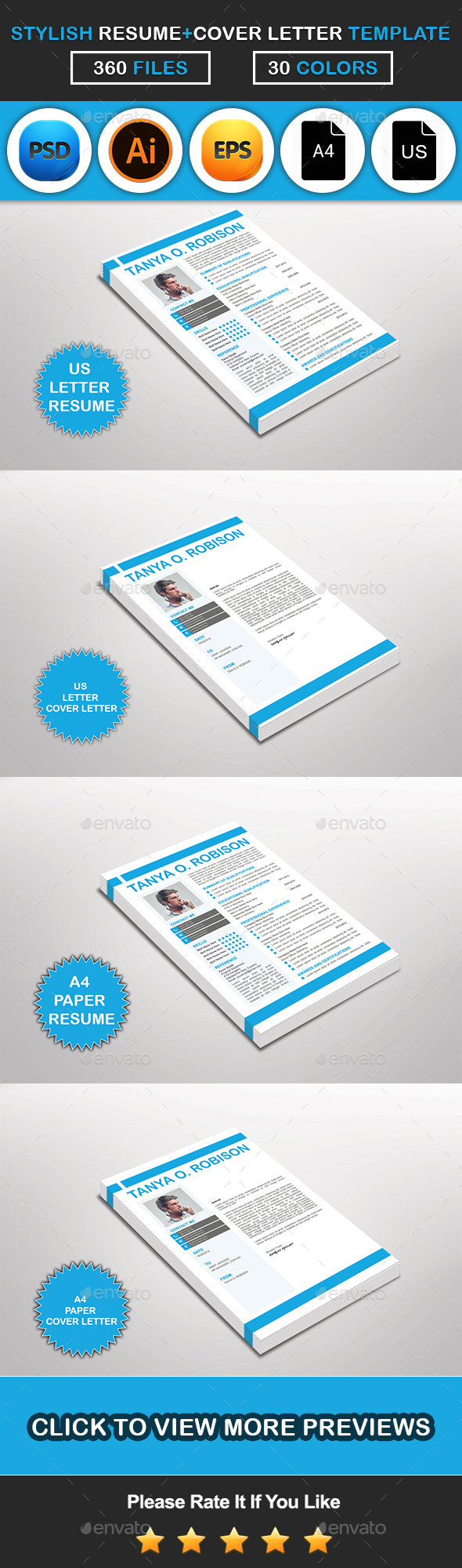 Stylish Resume & Cover Letter Template Design