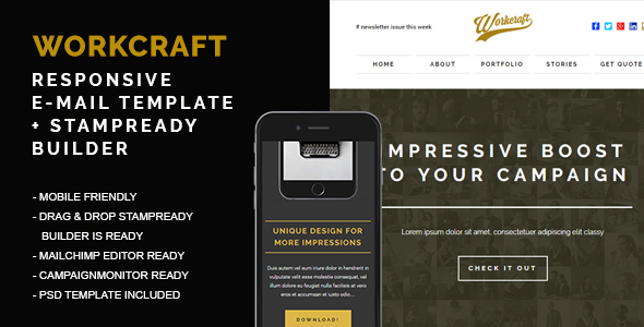 Workcraft - Responsive Email + Stampready Builder