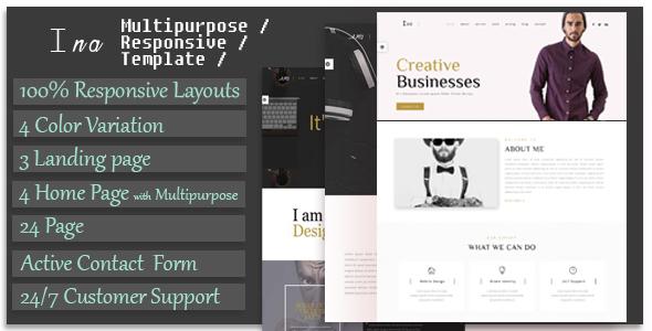 Ina - Responsive Multipurpose Corporate, Business & Portfolio Template