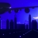 Stockholm Sweden Airplane Landing Skyline Moonlight Night
