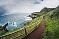Narrow path at the rocky coastline