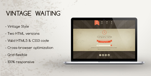 Vintage Waiting - Coming Soon HTML5 Template