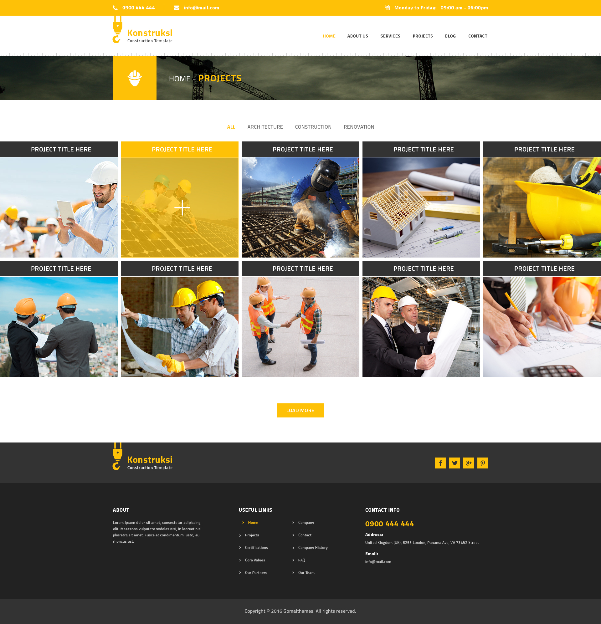 Kontruksi: Construction And Building PSD Template By