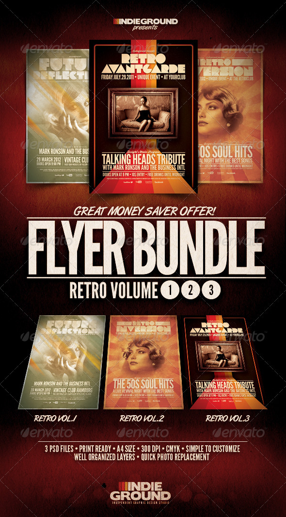 Retro Flyer/Poster Bundle Vol. 1-3 - Clubs & Parties Events